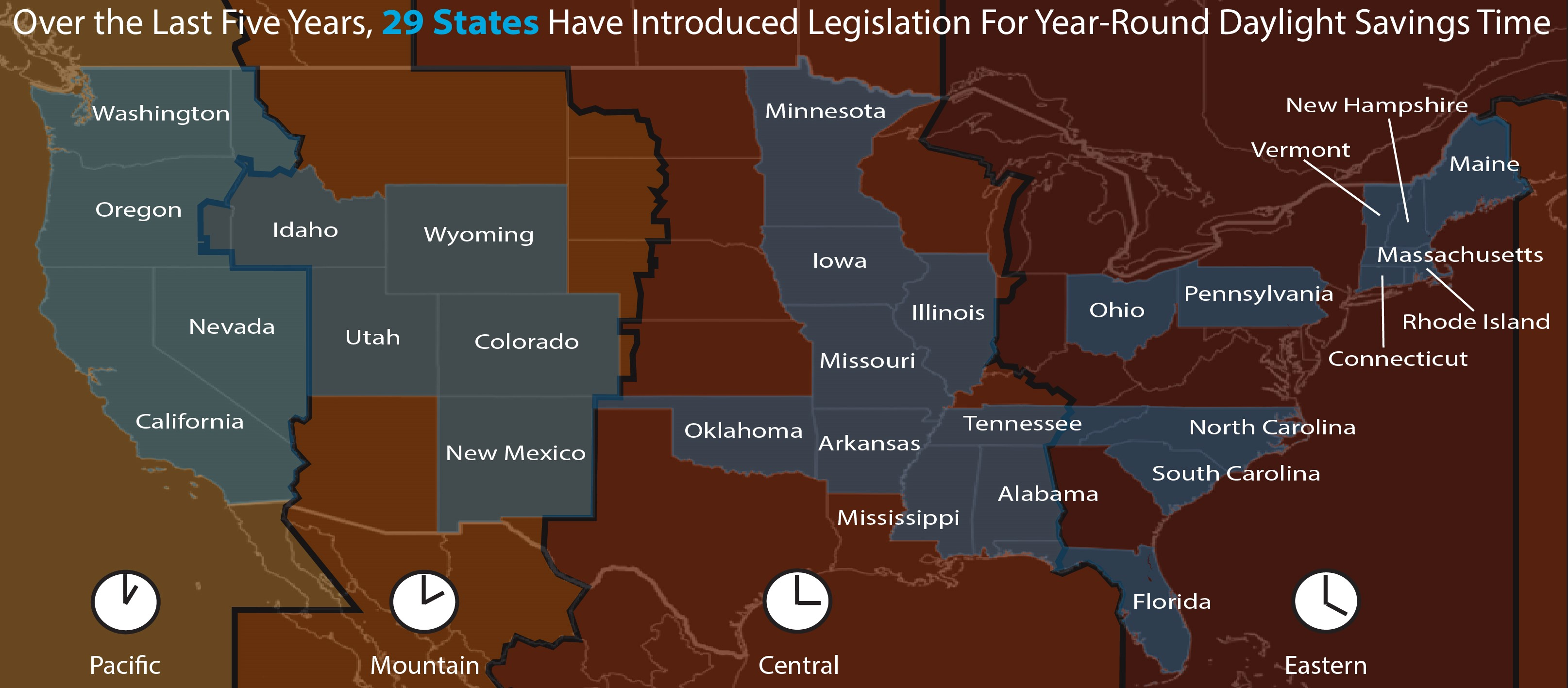Map image showing U.S. states with proposed legislation for year-round daylight saving time